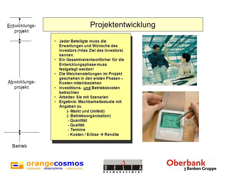 orangecosmos ERKENNEN – AUSSCHÖPFEN – VERBLÜFFEN Projektentwicklung Jeder Beteiligte muss die Erwartungen und Wünsche des Investors (=das Ziel des Inv