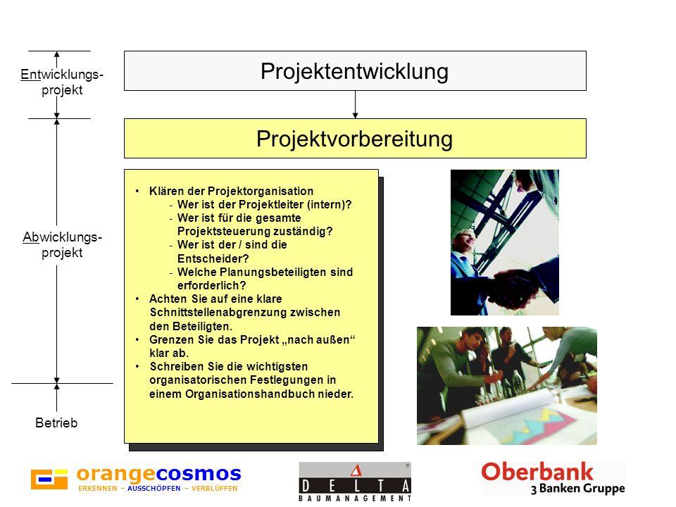 orangecosmos ERKENNEN – AUSSCHÖPFEN – VERBLÜFFEN Klären der Projektorganisation -Wer ist der Projektleiter (intern)? -Wer ist für die gesamte Projekts