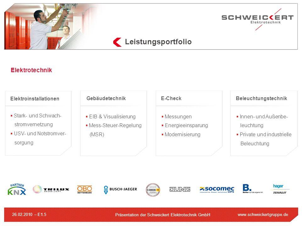 www.schweickertgruppe.de Präsentation der Schweickert Elektrotechnik GmbH 26.02.2010 – E1.5 Leistungsportfolio Elektrotechnik Elektroinstallationen St