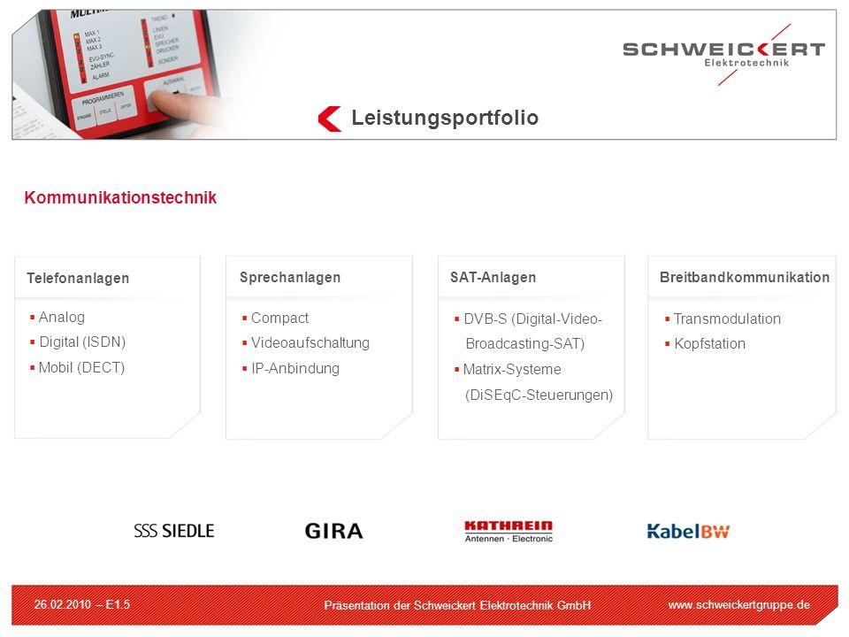 www.schweickertgruppe.de Präsentation der Schweickert Elektrotechnik GmbH 26.02.2010 – E1.5 Leistungsportfolio Kommunikationstechnik Telefonanlagen An