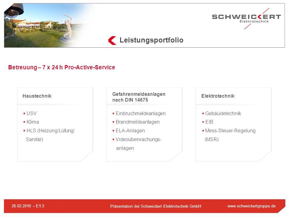 www.schweickertgruppe.de Präsentation der Schweickert Elektrotechnik GmbH 26.02.2010 – E1.5 Leistungsportfolio Betreuung – 7 x 24 h Pro-Active-Service