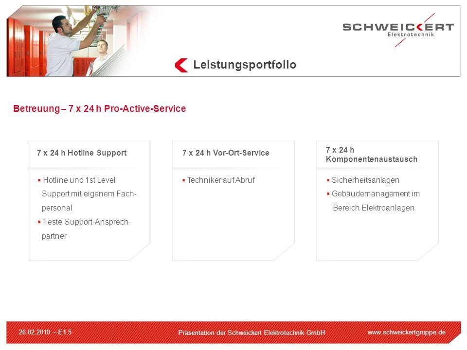 www.schweickertgruppe.de Präsentation der Schweickert Elektrotechnik GmbH 26.02.2010 – E1.5 Leistungsportfolio Hotline und 1st Level Support mit eigen