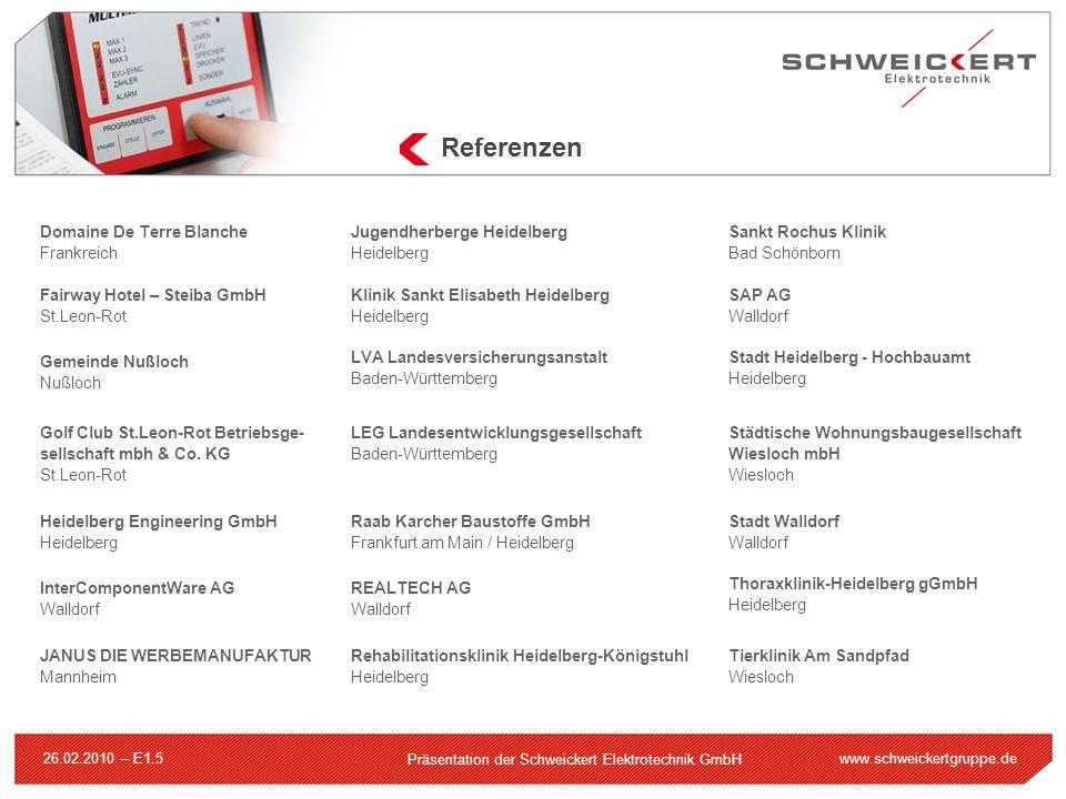 www.schweickertgruppe.de Präsentation der Schweickert Elektrotechnik GmbH 26.02.2010 – E1.5 Referenzen Domaine De Terre Blanche Frankreich Fairway Hot
