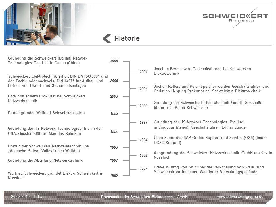 www.schweickertgruppe.de Präsentation der Schweickert Elektrotechnik GmbH 26.02.2010 – E1.5 Historie 1974 Erster Auftrag von SAP über die Verkabelung