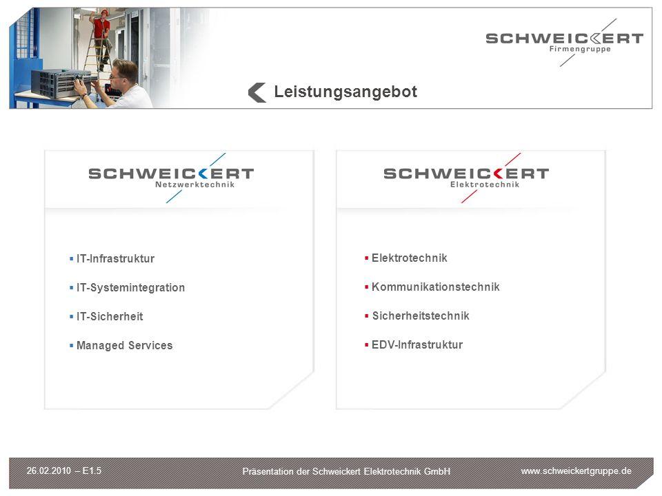 www.schweickertgruppe.de Präsentation der Schweickert Elektrotechnik GmbH 26.02.2010 – E1.5 Leistungsangebot IT-Infrastruktur IT-Systemintegration IT-