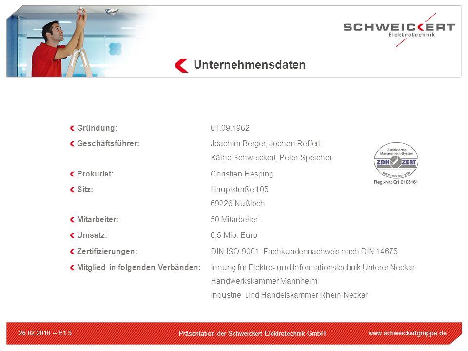 www.schweickertgruppe.de Präsentation der Schweickert Elektrotechnik GmbH 26.02.2010 – E1.5 Gründung:01.09.1962 Geschäftsführer:Joachim Berger, Jochen