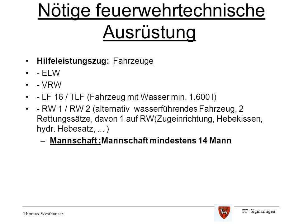 FF Sigmaringen Thomas Westhauser Nötige feuerwehrtechnische Ausrüstung Hilfeleistungszug: Fahrzeuge - ELW - VRW - LF 16 / TLF (Fahrzeug mit Wasser min.