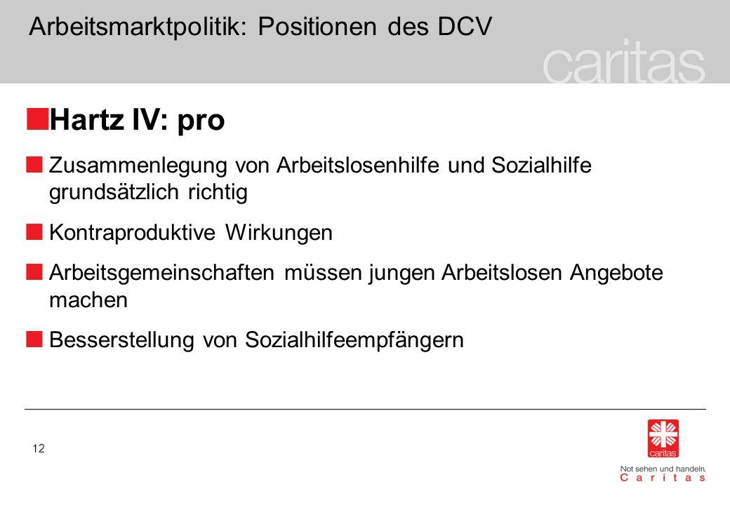 12 Arbeitsmarktpolitik: Positionen des DCV Hartz IV: pro Zusammenlegung von Arbeitslosenhilfe und Sozialhilfe grundsätzlich richtig Kontraproduktive W
