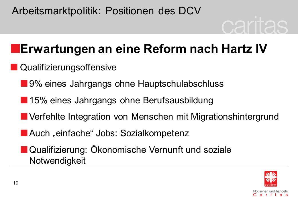 19 Arbeitsmarktpolitik: Positionen des DCV Erwartungen an eine Reform nach Hartz IV Qualifizierungsoffensive 9% eines Jahrgangs ohne Hauptschulabschlu