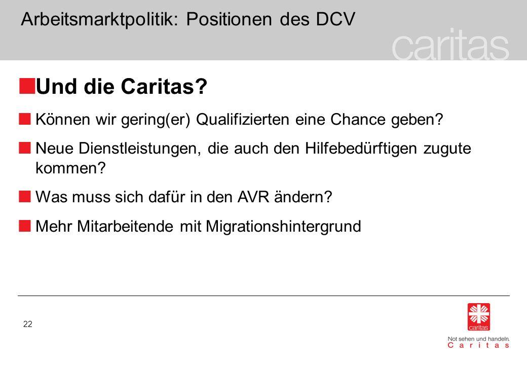 22 Arbeitsmarktpolitik: Positionen des DCV Und die Caritas? Können wir gering(er) Qualifizierten eine Chance geben? Neue Dienstleistungen, die auch de