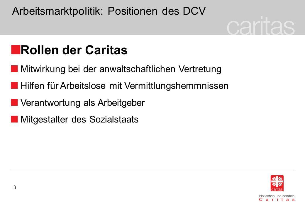 3 Arbeitsmarktpolitik: Positionen des DCV Rollen der Caritas Mitwirkung bei der anwaltschaftlichen Vertretung Hilfen für Arbeitslose mit Vermittlungsh