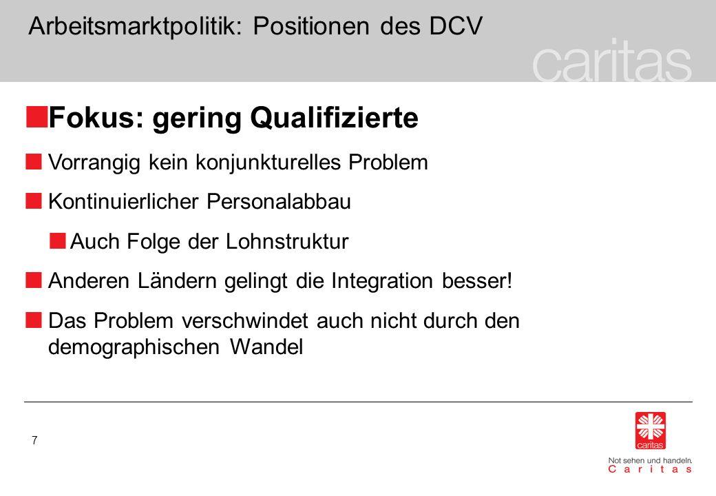 7 Arbeitsmarktpolitik: Positionen des DCV Fokus: gering Qualifizierte Vorrangig kein konjunkturelles Problem Kontinuierlicher Personalabbau Auch Folge