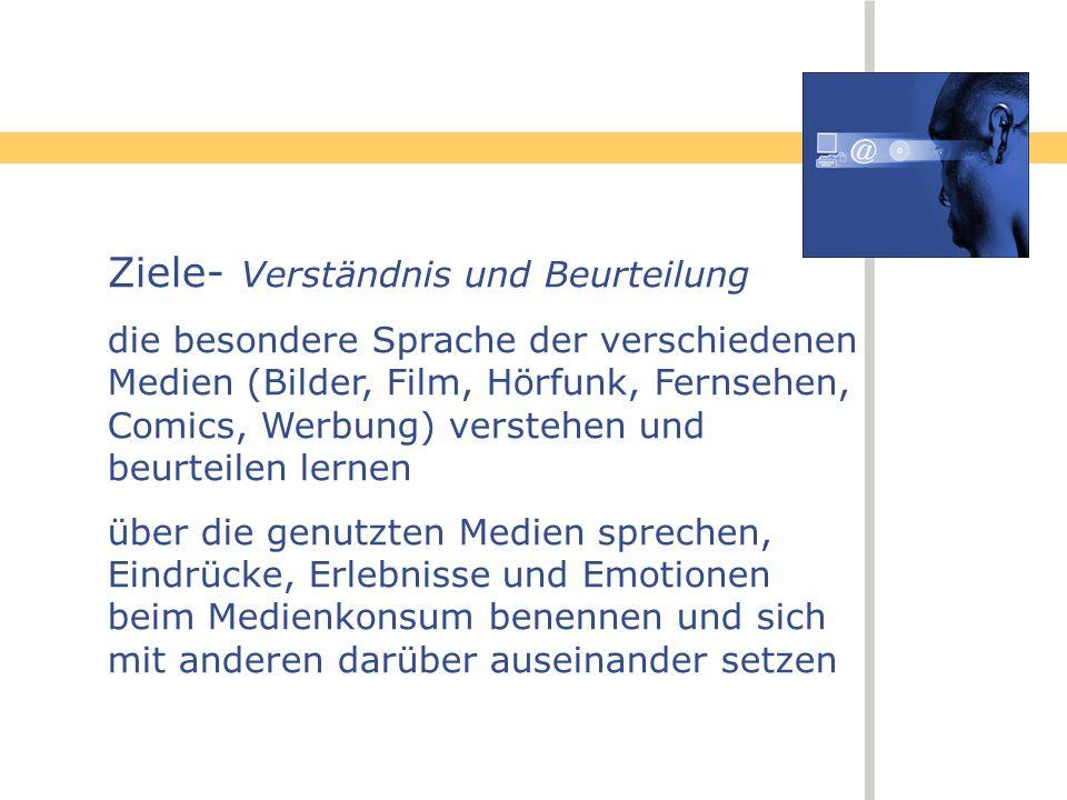 Ziele- Gestaltung und Einsatz Sprache der Medien bedienen Medien (z.