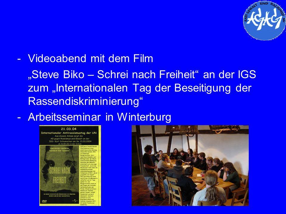 -Videoabend mit dem Film Steve Biko – Schrei nach Freiheit an der IGS zum Internationalen Tag der Beseitigung der Rassendiskriminierung -Arbeitssemina