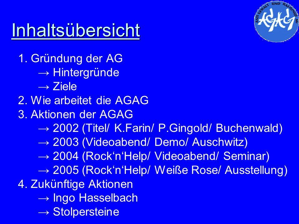 Inhaltsübersicht 1. Gründung der AG Hintergründe Ziele 2. Wie arbeitet die AGAG 3. Aktionen der AGAG 2002 (Titel/ K.Farin/ P.Gingold/ Buchenwald) 2003