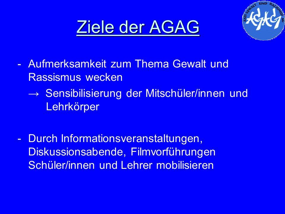 Ziele der AGAG -Aufmerksamkeit zum Thema Gewalt und Rassismus wecken Sensibilisierung der Mitschüler/innen und Lehrkörper -Durch Informationsveranstal