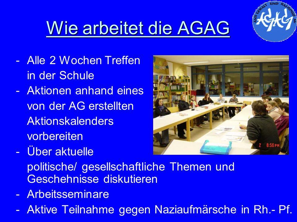 Wie arbeitet die AGAG -Alle 2 Wochen Treffen in der Schule -Aktionen anhand eines von der AG erstellten Aktionskalenders vorbereiten -Über aktuelle po