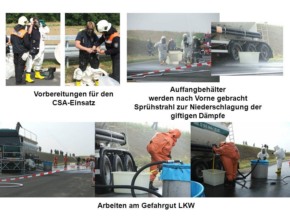 Vorbereitungen für den CSA-Einsatz Auffangbehälter werden nach Vorne gebracht Sprühstrahl zur Niederschlagung der giftigen Dämpfe Arbeiten am Gefahrgut LKW