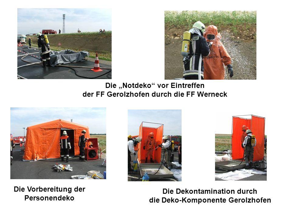 Die Dekontamination durch die Deko-Komponente Gerolzhofen Die Notdeko vor Eintreffen der FF Gerolzhofen durch die FF Werneck Die Vorbereitung der Personendeko