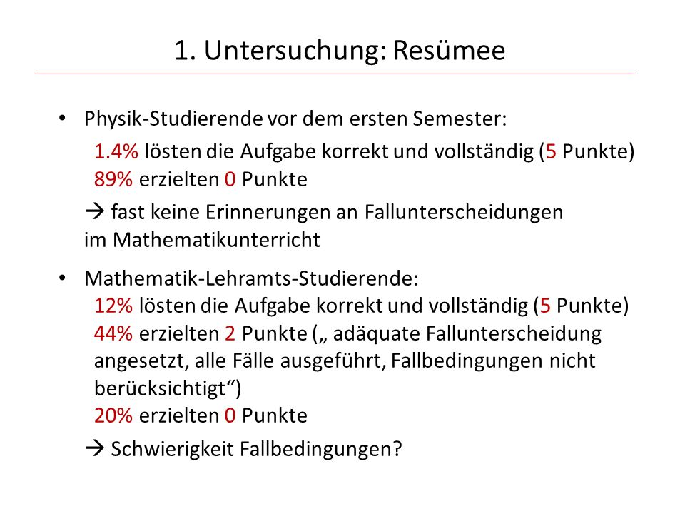 1. Untersuchung: Resümee Physik-Studierende vor dem ersten Semester: 1.4% lösten die Aufgabe korrekt und vollständig (5 Punkte) 89% erzielten 0 Punkte