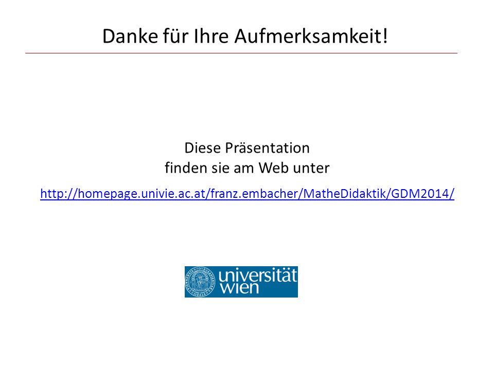 Danke für Ihre Aufmerksamkeit! Diese Präsentation finden sie am Web unter http://homepage.univie.ac.at/franz.embacher/MatheDidaktik/GDM2014/ http://ho
