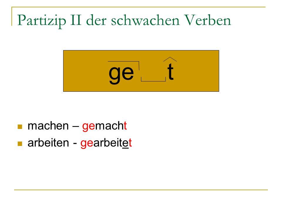 Partizip II der starken Verben В основе может изменятся корневая гласная (или даже вся основа) kommen – gekommen singen – gesungen gehen - gegangen ge en