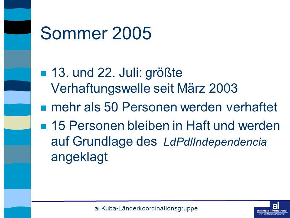 ai Kuba-Länderkoordinationsgruppe Sommer 2005 13. und 22.