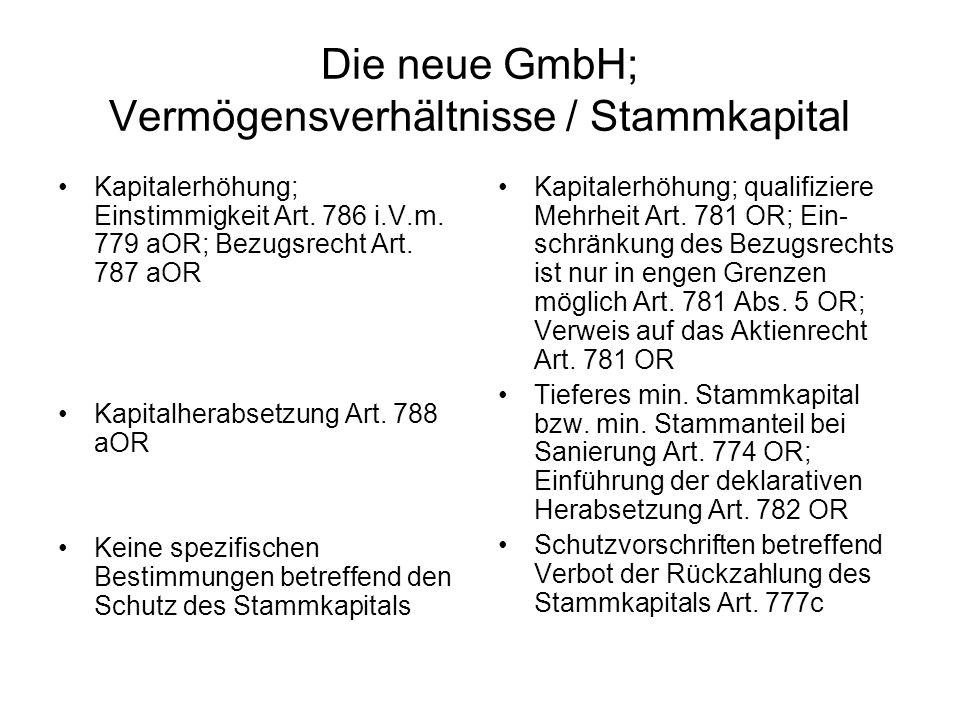 Die neue GmbH; Vermögensverhältnisse / Stammkapital Kapitalerhöhung; Einstimmigkeit Art. 786 i.V.m. 779 aOR; Bezugsrecht Art. 787 aOR Kapitalherabsetz