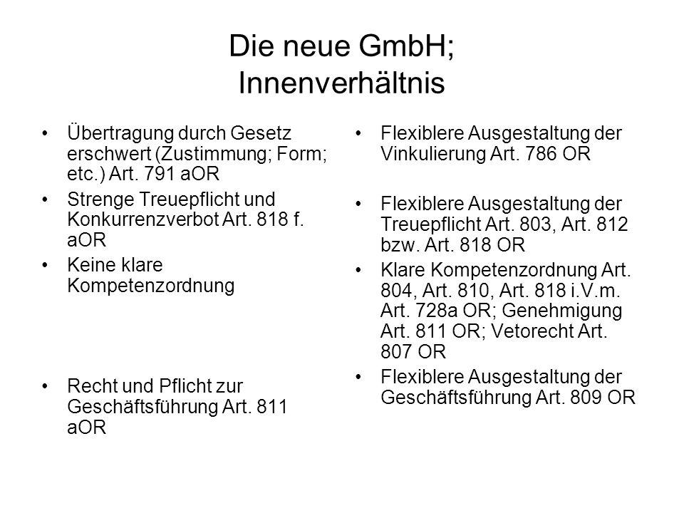 Die neue GmbH; Innenverhältnis Übertragung durch Gesetz erschwert (Zustimmung; Form; etc.) Art. 791 aOR Strenge Treuepflicht und Konkurrenzverbot Art.