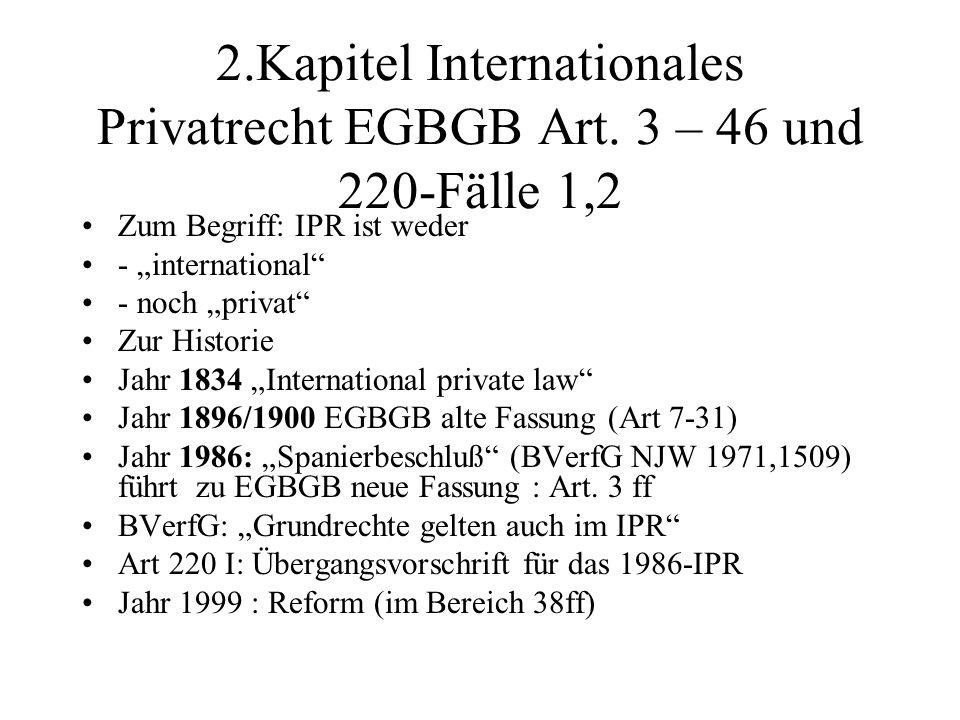 2.Kapitel Internationales Privatrecht EGBGB Art.