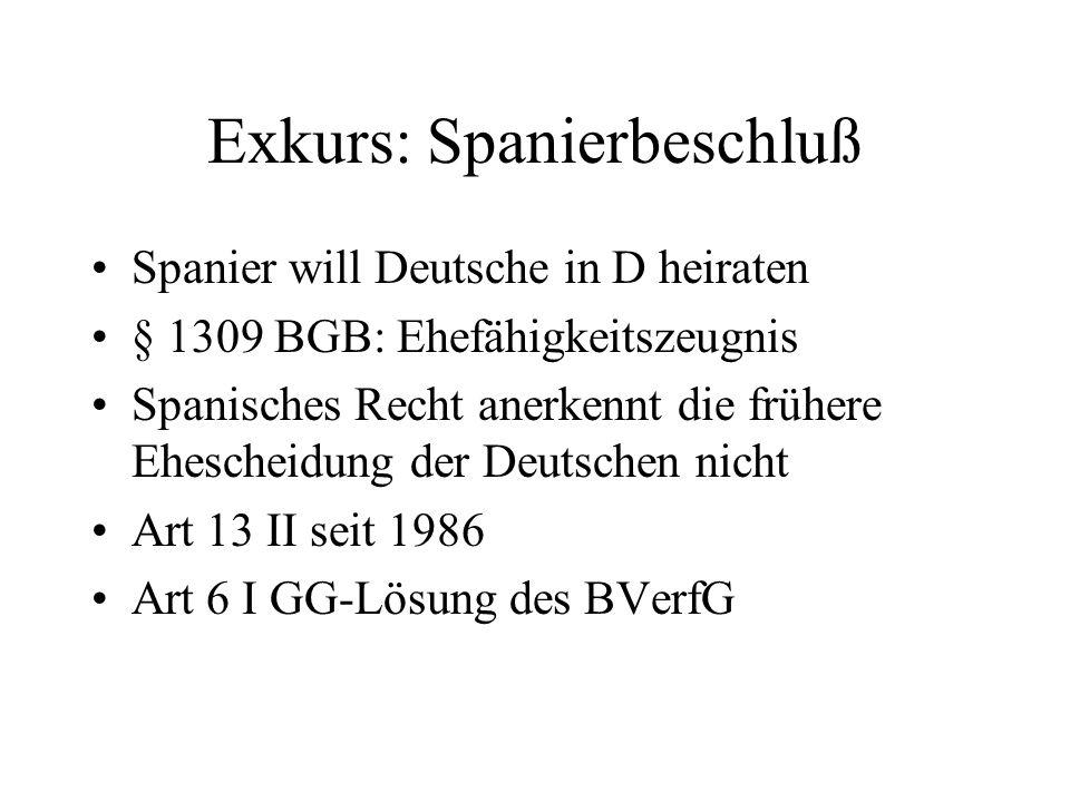 Exkurs: Spanierbeschluß Spanier will Deutsche in D heiraten § 1309 BGB: Ehefähigkeitszeugnis Spanisches Recht anerkennt die frühere Ehescheidung der Deutschen nicht Art 13 II seit 1986 Art 6 I GG-Lösung des BVerfG