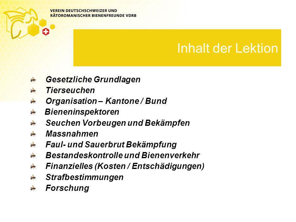 Gesetzliche Grundlagen Tierseuchengesetz (TSG) Art.
