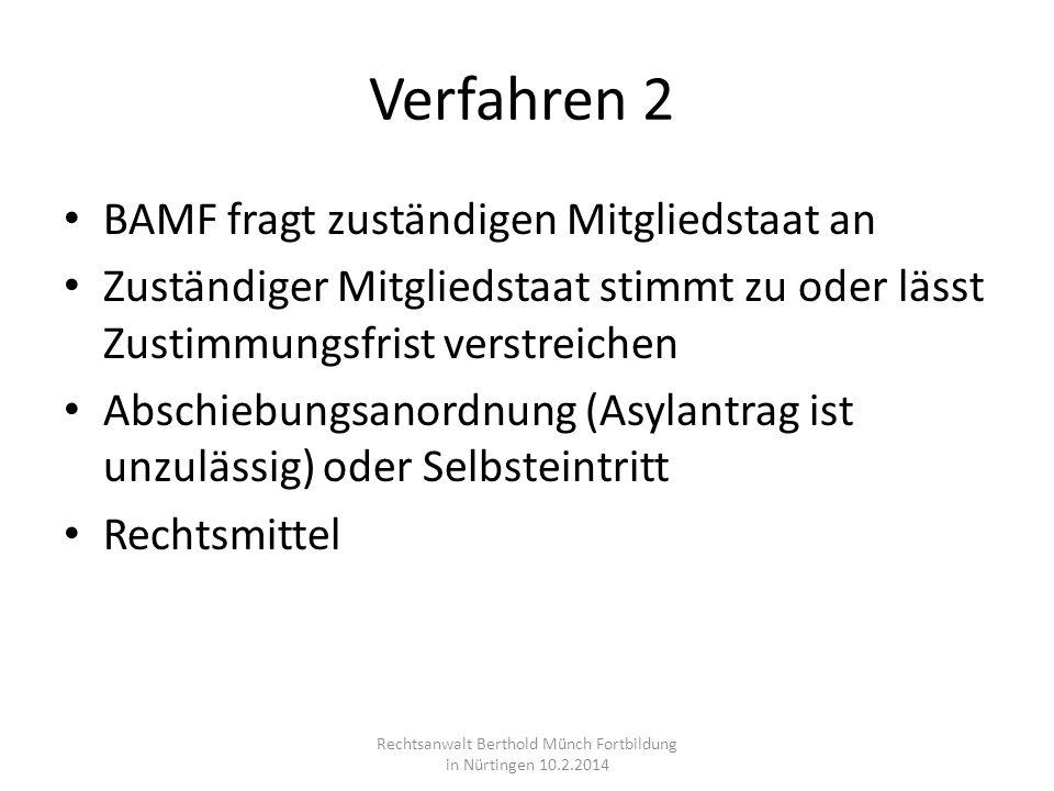 Verfahren 2 BAMF fragt zuständigen Mitgliedstaat an Zuständiger Mitgliedstaat stimmt zu oder lässt Zustimmungsfrist verstreichen Abschiebungsanordnung