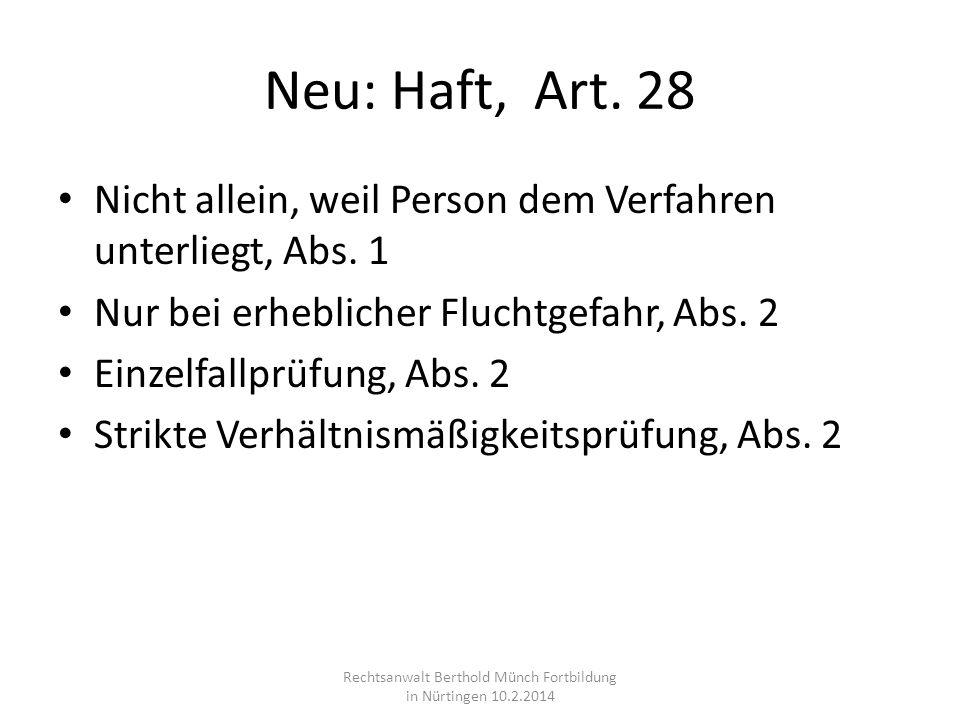 Neu: Haft, Art. 28 Nicht allein, weil Person dem Verfahren unterliegt, Abs. 1 Nur bei erheblicher Fluchtgefahr, Abs. 2 Einzelfallprüfung, Abs. 2 Strik