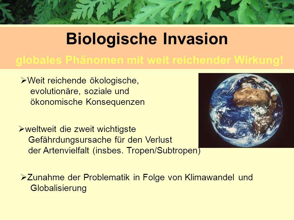 Weit reichende ökologische, evolutionäre, soziale und ökonomische Konsequenzen weltweit die zweit wichtigste Gefährdungsursache für den Verlust der Ar