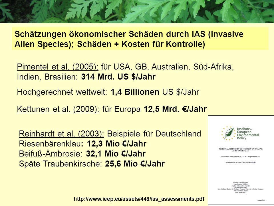 Pimentel et al. (2005): für USA, GB, Australien, Süd-Afrika, Indien, Brasilien: 314 Mrd. US $/Jahr Hochgerechnet weltweit: 1,4 Billionen US $/Jahr Sch