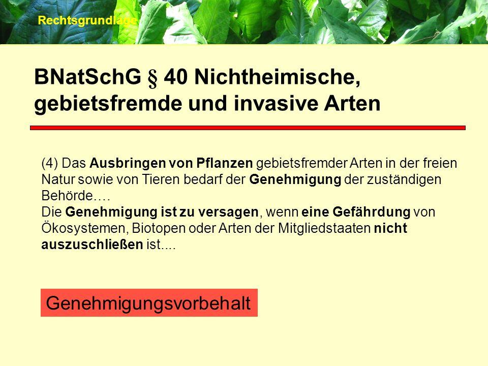 BNatSchG § 40 Nichtheimische, gebietsfremde und invasive Arten (4) Das Ausbringen von Pflanzen gebietsfremder Arten in der freien Natur sowie von Tier