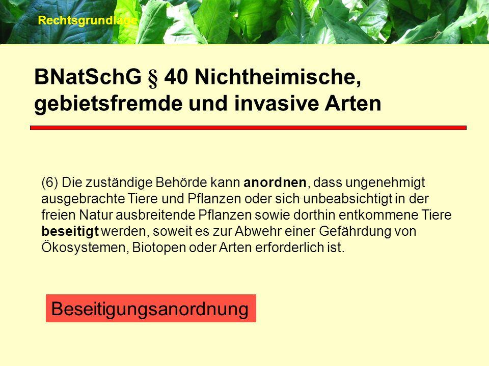 BNatSchG § 40 Nichtheimische, gebietsfremde und invasive Arten (6) Die zuständige Behörde kann anordnen, dass ungenehmigt ausgebrachte Tiere und Pflan