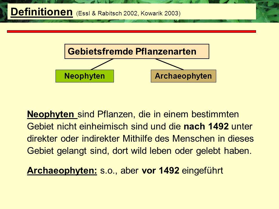 Neophyten sind Pflanzen, die in einem bestimmten Gebiet nicht einheimisch sind und die nach 1492 unter direkter oder indirekter Mithilfe des Menschen