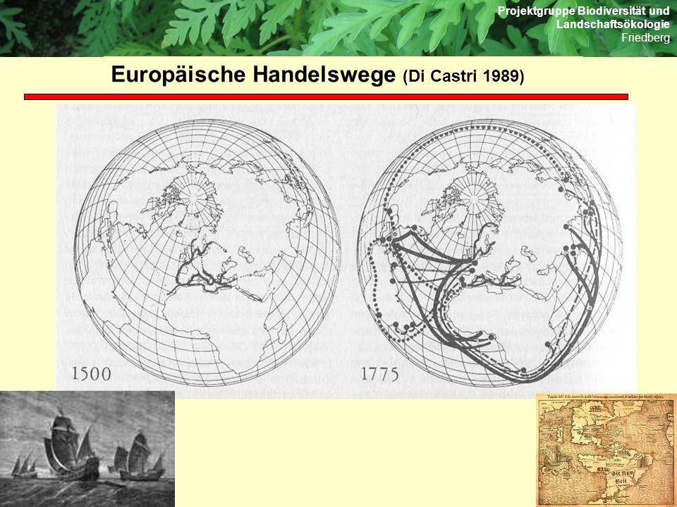 Projektgruppe Biodiversität und Landschaftsökologie Friedberg Europäische Handelswege (Di Castri 1989)