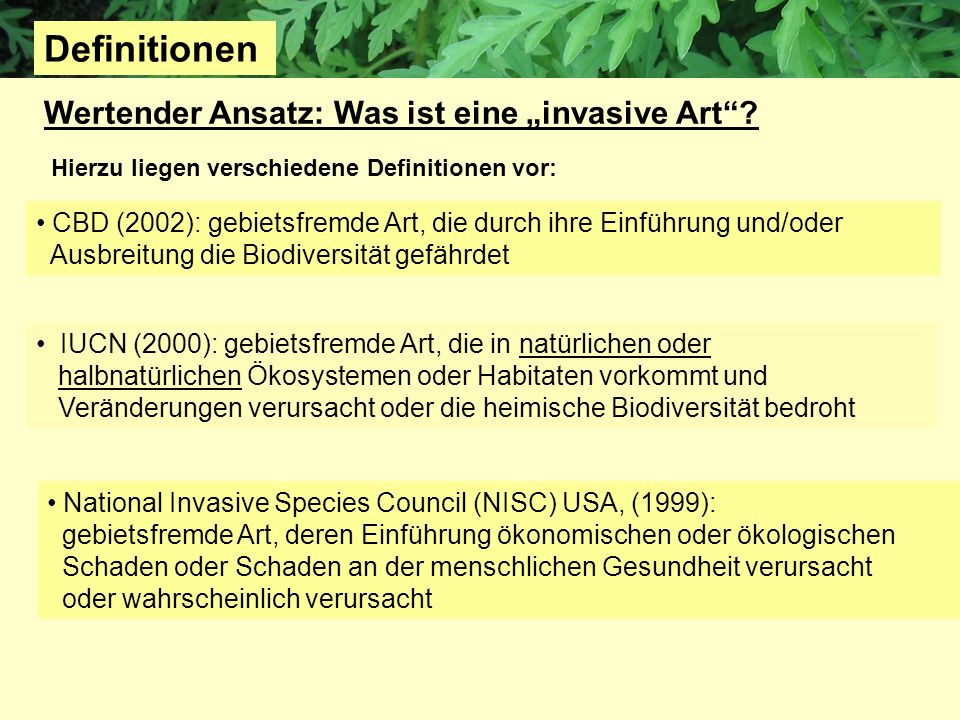 Wertender Ansatz: Was ist eine invasive Art? IUCN (2000): gebietsfremde Art, die in natürlichen oder halbnatürlichen Ökosystemen oder Habitaten vorkom
