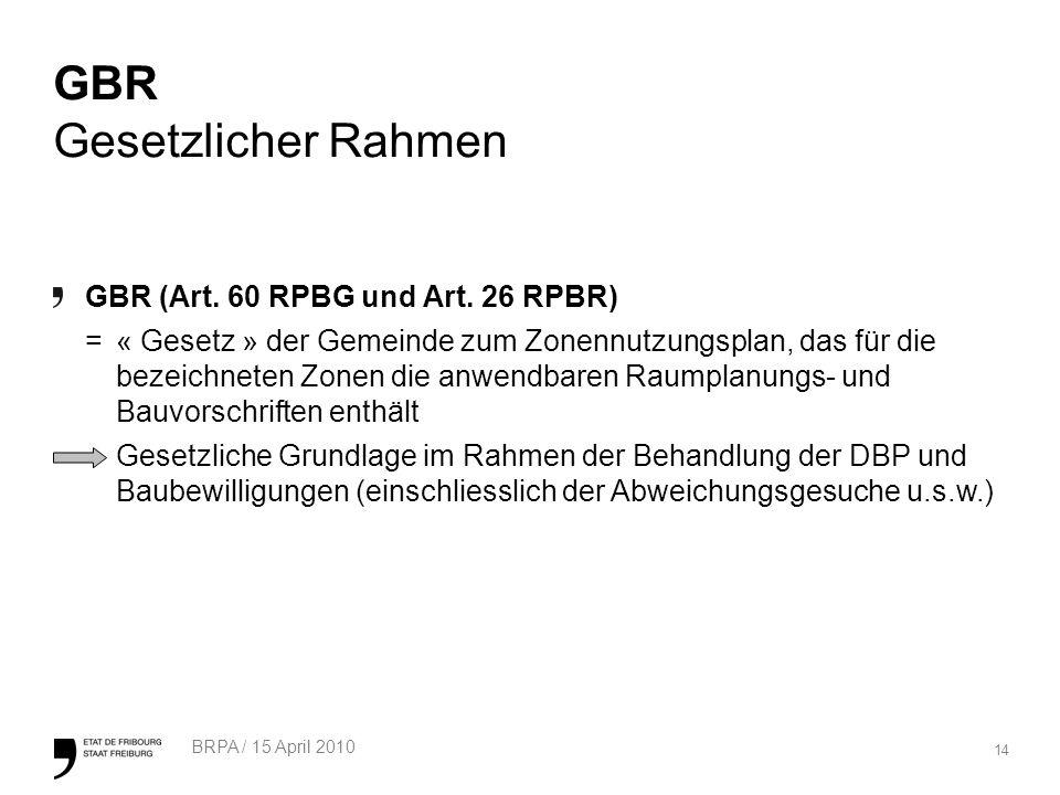 14 BRPA / 15 April 2010 GBR Gesetzlicher Rahmen GBR (Art.