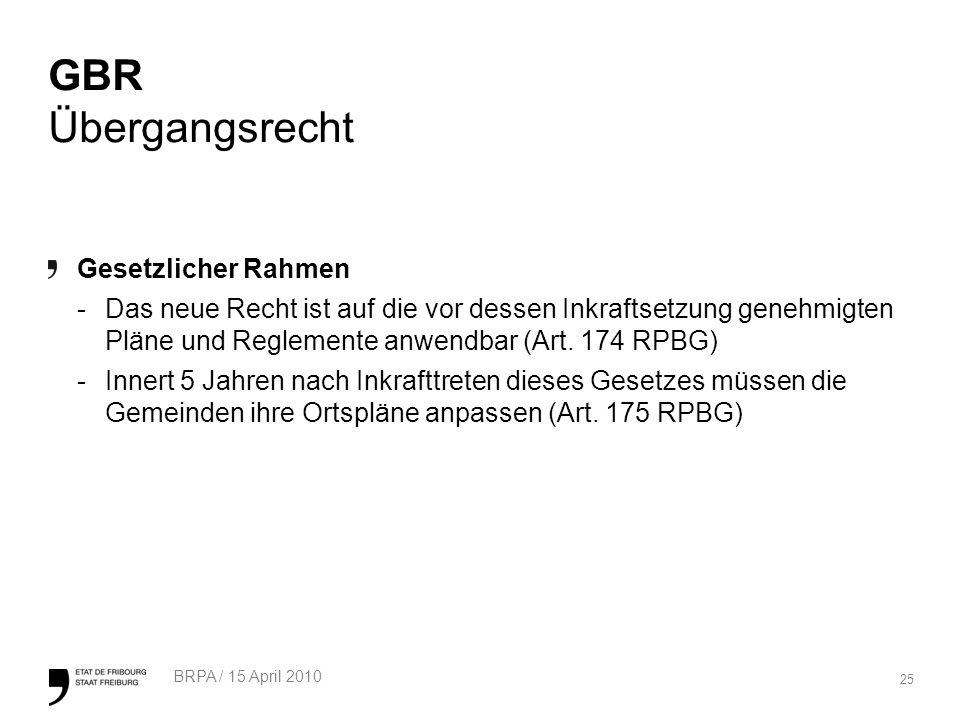 25 BRPA / 15 April 2010 GBR Übergangsrecht Gesetzlicher Rahmen -Das neue Recht ist auf die vor dessen Inkraftsetzung genehmigten Pläne und Reglemente anwendbar (Art.