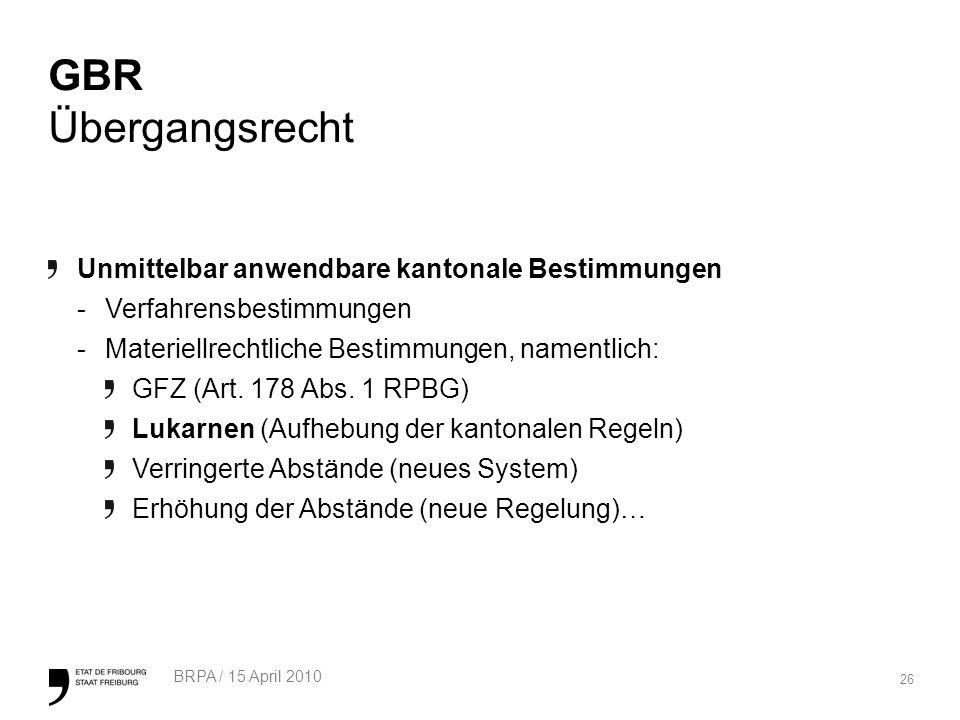 26 BRPA / 15 April 2010 GBR Übergangsrecht Unmittelbar anwendbare kantonale Bestimmungen -Verfahrensbestimmungen -Materiellrechtliche Bestimmungen, namentlich: GFZ (Art.