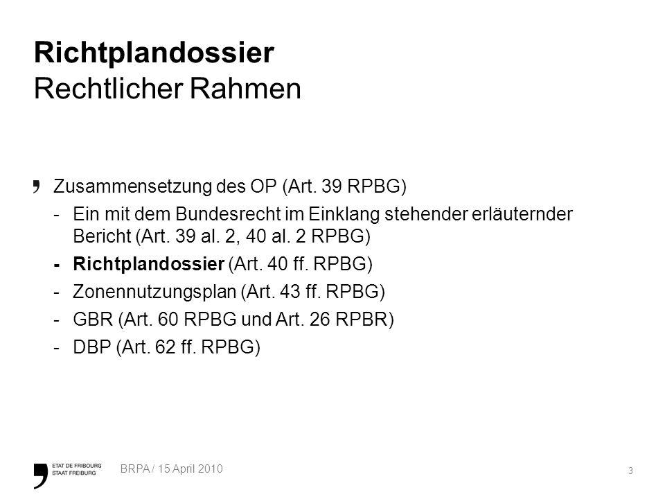 3 BRPA / 15 April 2010 Richtplandossier Rechtlicher Rahmen Zusammensetzung des OP (Art.