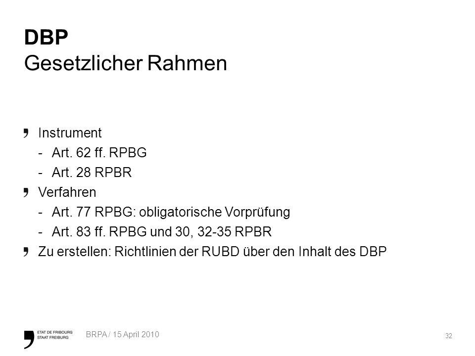 32 BRPA / 15 April 2010 DBP Gesetzlicher Rahmen Instrument -Art. 62 ff. RPBG -Art. 28 RPBR Verfahren -Art. 77 RPBG: obligatorische Vorprüfung -Art. 83
