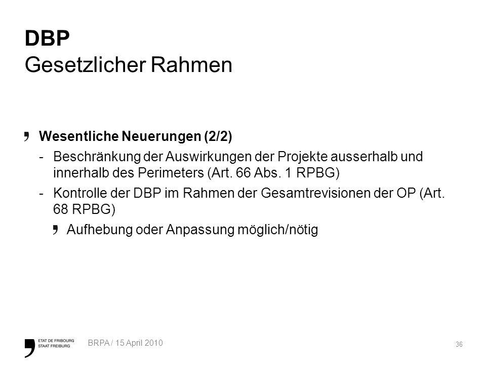 36 BRPA / 15 April 2010 DBP Gesetzlicher Rahmen Wesentliche Neuerungen (2/2) -Beschränkung der Auswirkungen der Projekte ausserhalb und innerhalb des Perimeters (Art.