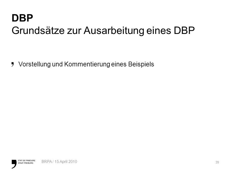 39 BRPA / 15 April 2010 DBP Grundsätze zur Ausarbeitung eines DBP Vorstellung und Kommentierung eines Beispiels