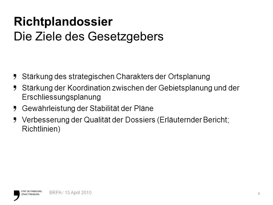 35 BRPA / 15 April 2010 DBP Gesetzlicher Rahmen Wesentliche Neuerungen (1/2) -Einheitliche Terminologie -Festlegung der Ziele der obligatorischen DBP im GBR (Art.