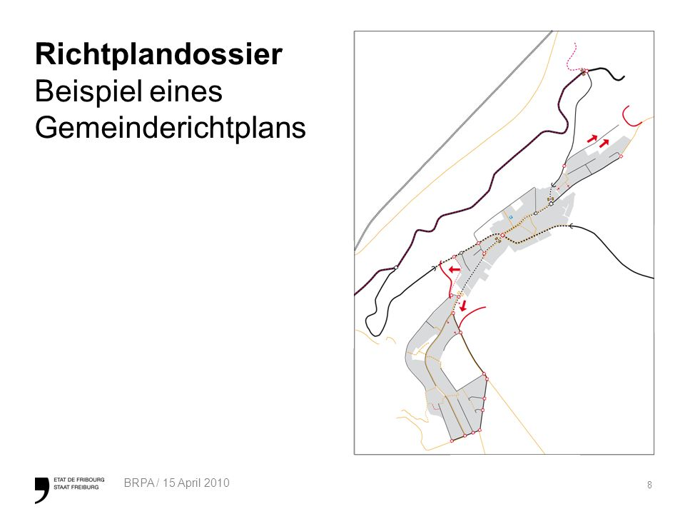 9 BRPA / 15 April 2010 Richtplandossier Erschliessungsprogramm (1/4) Neues Instrument, in welchem der Ablauf und die Modalitäten hinsichtlich der Realisierung der erforderlichen Anlagen zur Erschliessung der Bauzone festgelegt sind.